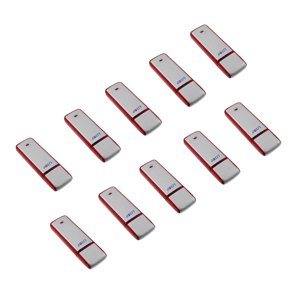 Litop® 10PCS 64GB High Quality USB Flash Drive USB 2.0 Memory Disk U-disk (10 pcs Silver Color/Red, 64GB)