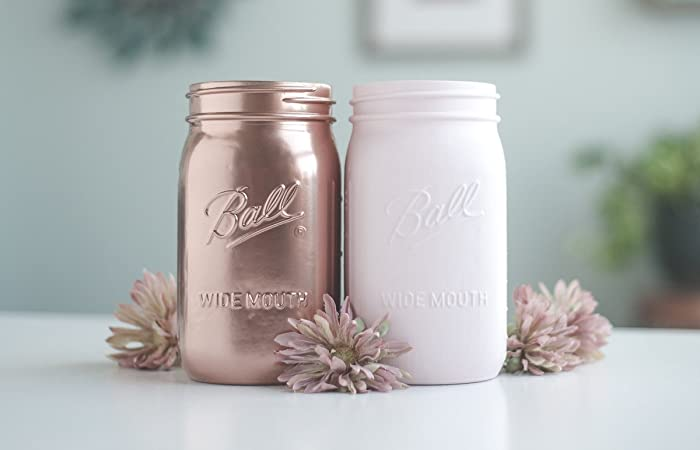 rose gold and blush vases quart mason jars rose gold wedding centerpiece decor
