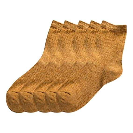 Gysad 5 pares Color sólido Calcetines de algodon mujer Cálido y confortable Calcetines de invierno 35