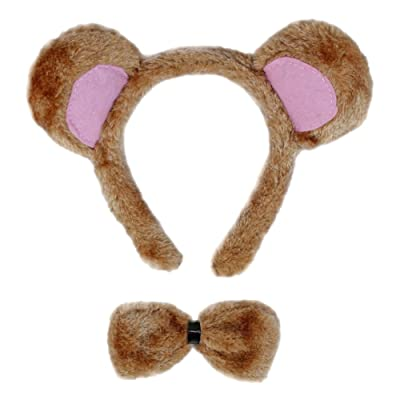 SeasonsTrading Bear Ears & Bow Tie Costume Set - Halloween Costume Party Kit: Toys & Games