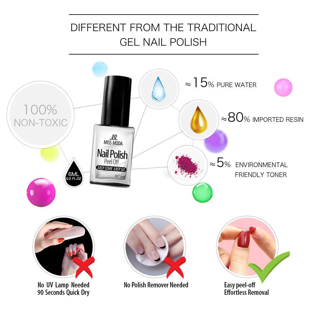 Amazon.com: Miss Moda Natural Non-Toxic Water Based Nail Polish ...