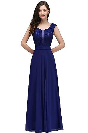 MisShow® Damen Elegant A-Linie Chiffon Abendkleid Ballkleid Cocktailkleid  lang EU 32-46  Amazon.de  Bekleidung 73640e9c45