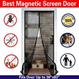 Magnetic Screen Door Mesh Curtain and Full Frame Velcro Fits Doors up to 36''- 82'' Max- Black