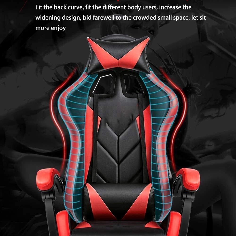 TV-spelstol, Liggande hög rygg datorstol upphöjd roterande länkad räcke ergonomi kontorsstol med nackstöd och massage ländrygg kudde 360 graders svängbar (färg: Svart röd) Röd Vit