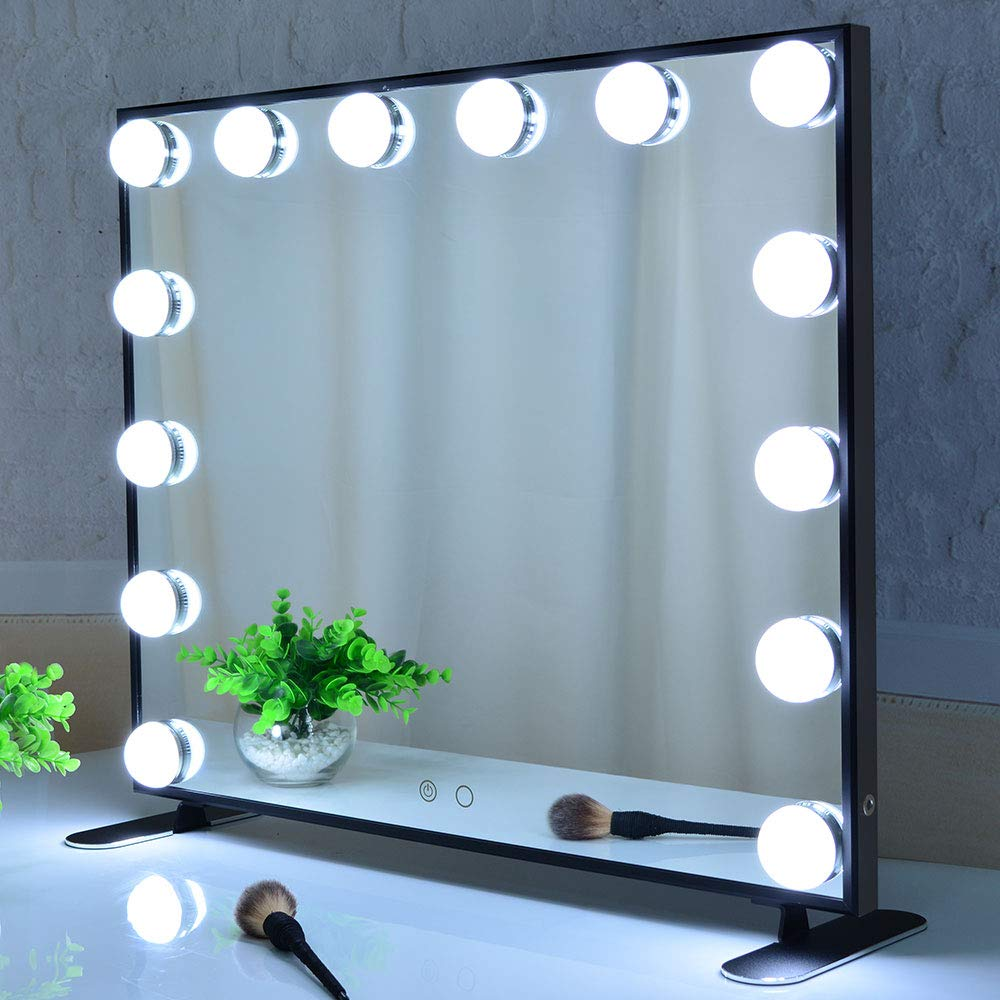 BEAUTME Hollywood Vanity Mirror with Lights,Tabletop or Wall Mounted Cosmetic Makeup Mirror With Dimmer LED Bulbs Touch Control Square Makeup Beauty Mirror (Black)