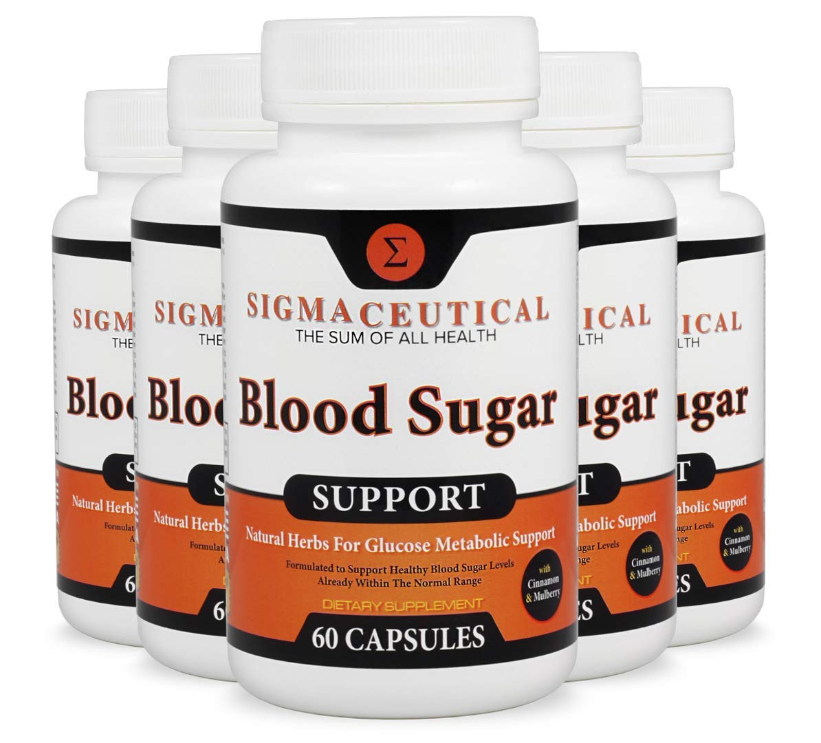 5 Pack of Blood Sugar Support Supplement - Normal Blood Glucose Control - Vitamin and Herb Extract Formula w/Guggul, Mulberry Extract, Vanadium & Gymnema Sylvestre - 60 Capsules Each