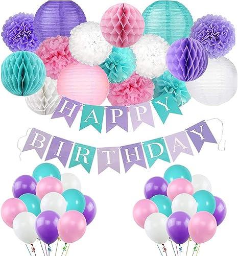 Decoracion De Sirena Para Fiesta Niñas Banner Cumpleaños Grandes Globos Pastel