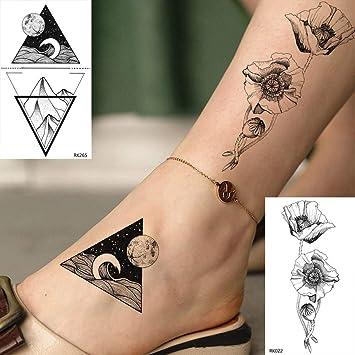 Tatuajes Temporales Niños Lindo Pequeño Triángulo Flor Rosa ...