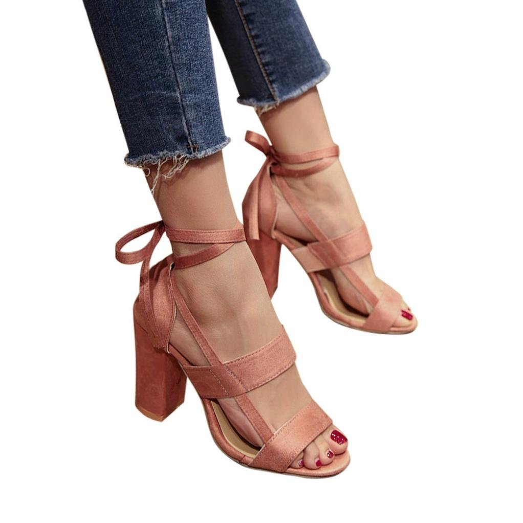 KaiCran Ladies Summer Sandals Heels Women Sandals Ankle High Heels Sandals Block Party Open Toe Shoes B0793KS1XW 7 B(M) US|Pink ae1519