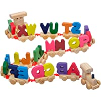 guoYL26sx Baby Toys Colorful Capital Letters Wooden Train Model Kids Educational Assemble Toy Set