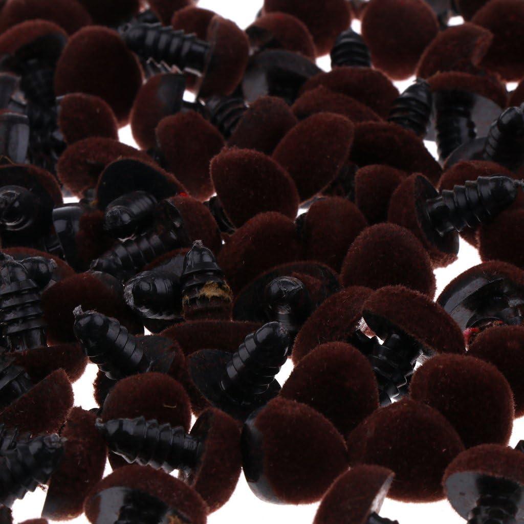 T TOOYFUL 100pcs 10 Marron # 1 11mm Triangle Velours S/écurit/é Nez Boutons Yeux pour DIY Bear