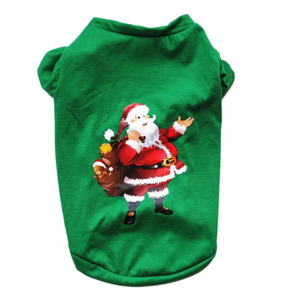 Ropa para Mascotas, Gusspower Navidad pequeños Perros Mascota Ropa Camiseta Cachorro Traje de Invierno Papá Noel y muñeco de Nieve autumn-wind