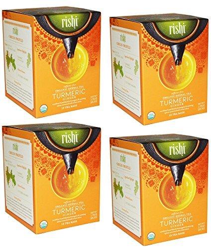 Rishi Tea Organic Herbal Tea Caffeine-Free Turmeric Ginger - 15 bags (Pack of 4)