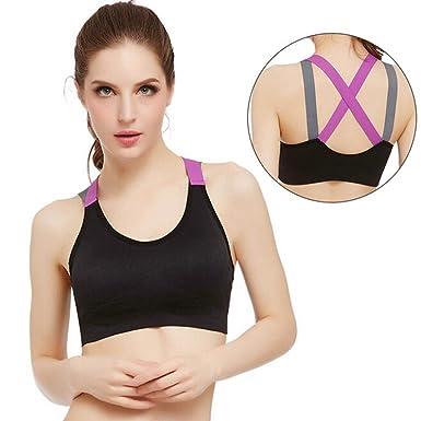 Tonsee Femmes Sport Gym Yoga Workout soutien-gorge Fitness Bralette  Spaghetti Tops Vest (S 0b4c3620811