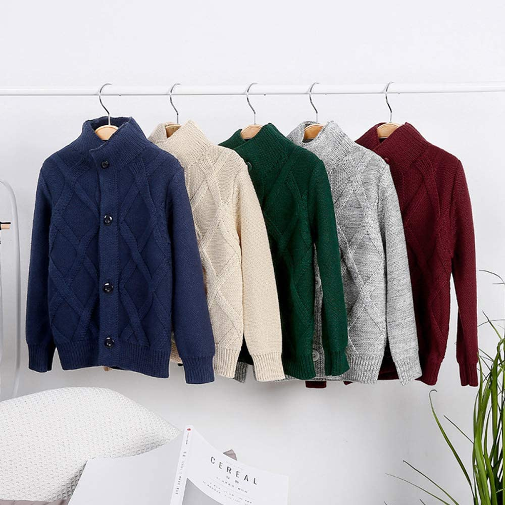 OCHENTA Boys Knitted Button Up Cotton Cardigan Sweater