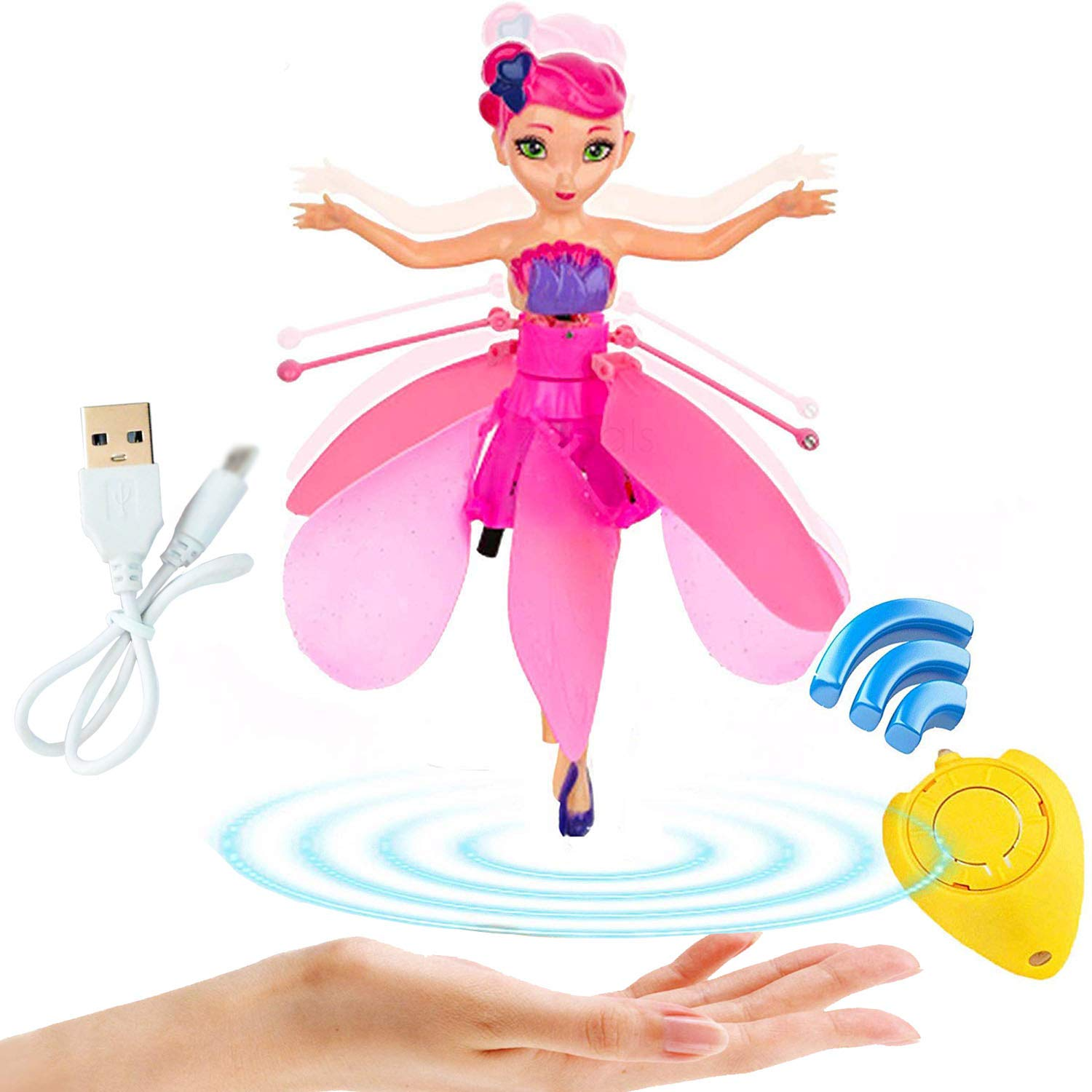 litytlen Flying Fairy Doll Girl Infrared Sensor Control Remote Control Child Toy, Magic and Best Gift for 6 Year Old Girl Kids Toy. Flying Princess Doll (Pink) by litytlen