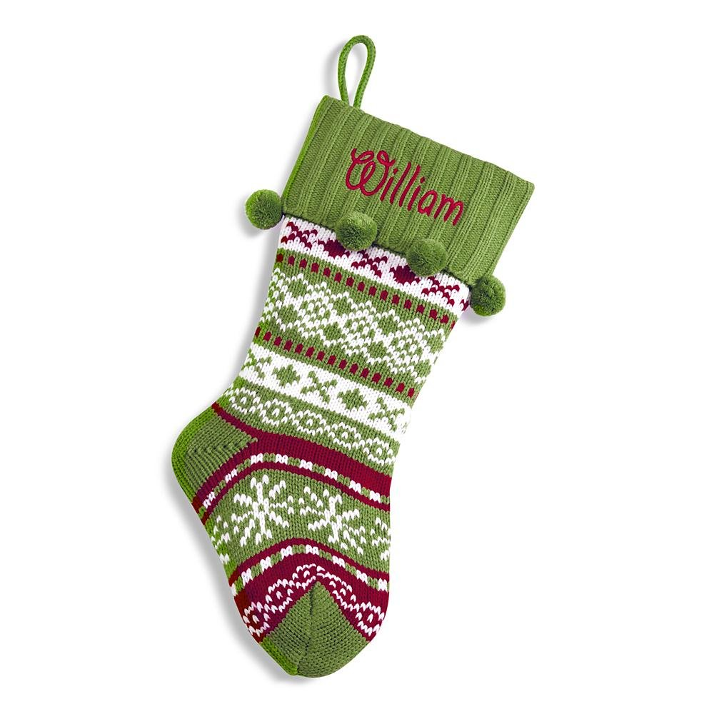 Personal Creations Personalized Gifts Green Knit Argyle Design Stocking