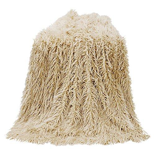 HiEnd Accents Mongolian Faux Fur Throw, 50X60 Cream