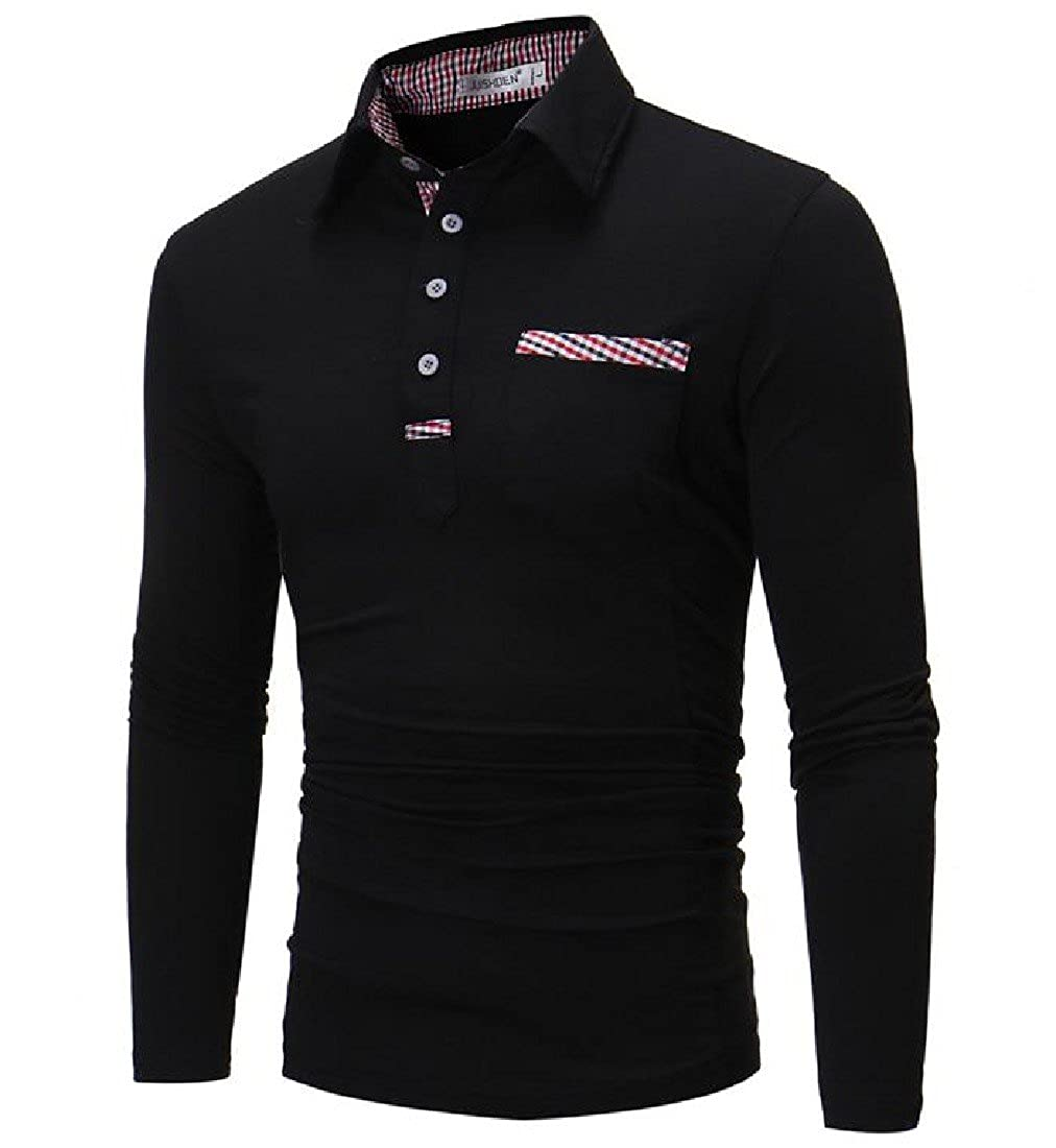 Honey GD Men Casual Solid Colored Long-Sleeve Thin Polo-Collar T-Shirt