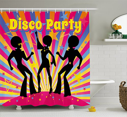 Ambesonne 70s Party Decorations Shower Curtain, Dancing People Silhouettes with Afro Hair Disco Party Funky Display, Fabric Bathroom Decor Set with Hooks, 70 Inches, -