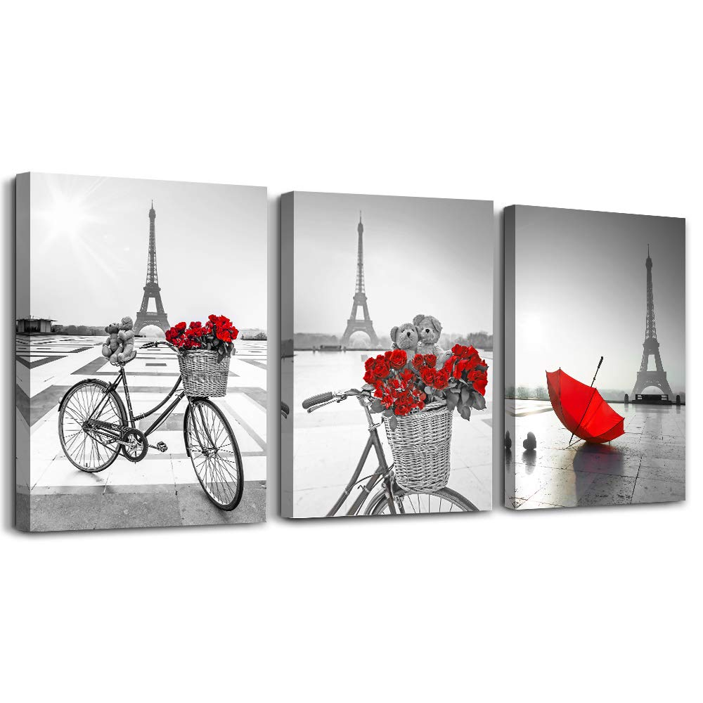 red Flowers 3 Piece Canvas Print Wall Art for Living Room Bathroom Decorations Bedroom Wall decor modern Eiffel Tower umbrella Office Home Decoration wall paintings Black and white bicycle landscape