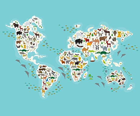 Amazon map fabric cartoon animal world map for children and map fabric cartoon animal world map for children and kids animals from all over the gumiabroncs Gallery