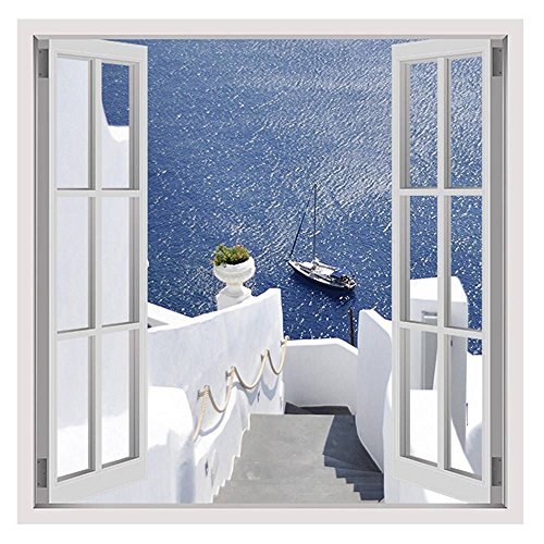 Alonline Art - Boat At The Sea Santorini by Fake 3D Window | framed stretched canvas on a ready to hang frame - 100% cotton - gallery wrapped | 12