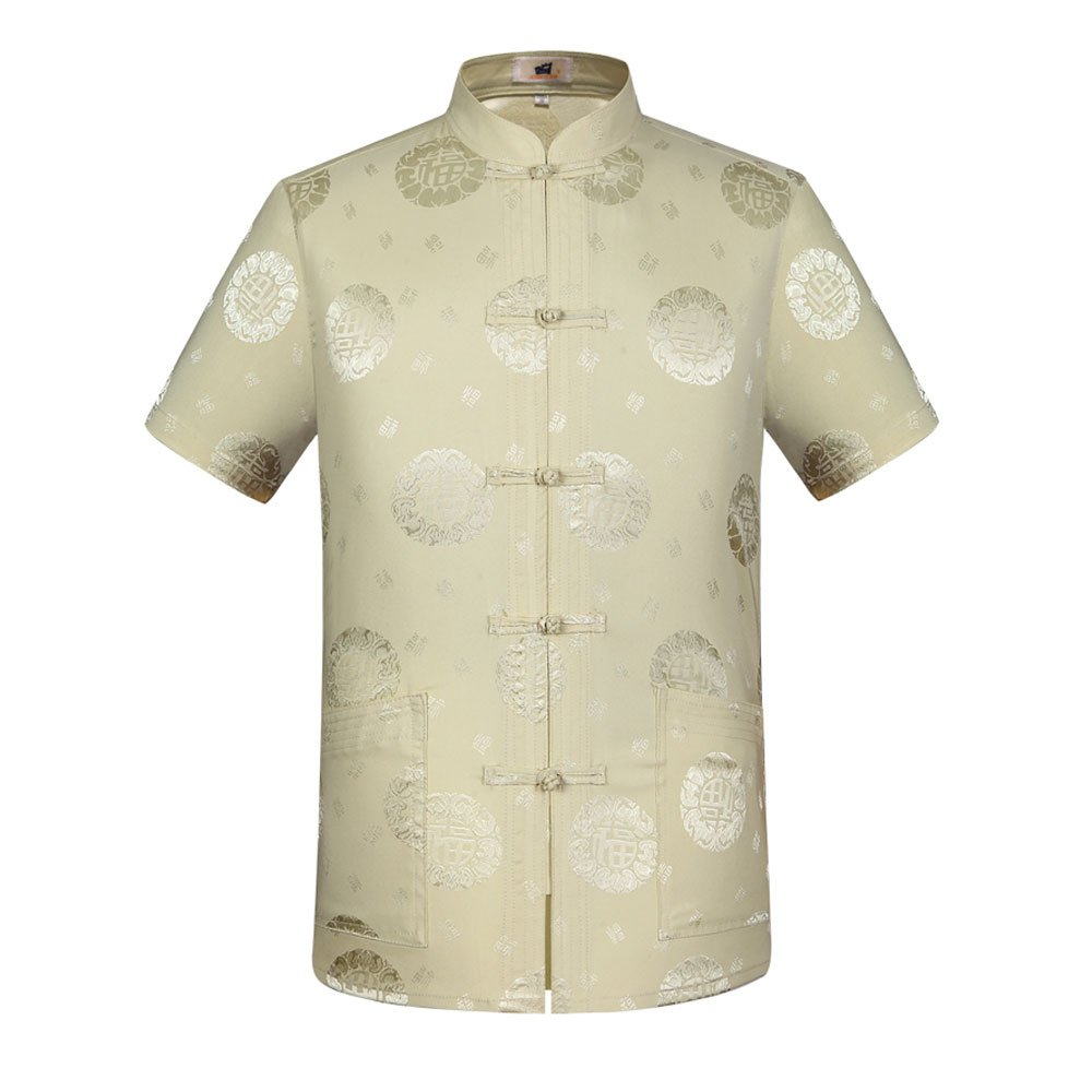 Tang Suit Men Traditional Chinese Clothing Suits Hanfu Cotton Short sleeve shirt coat Mens Tops (XL, Beige)