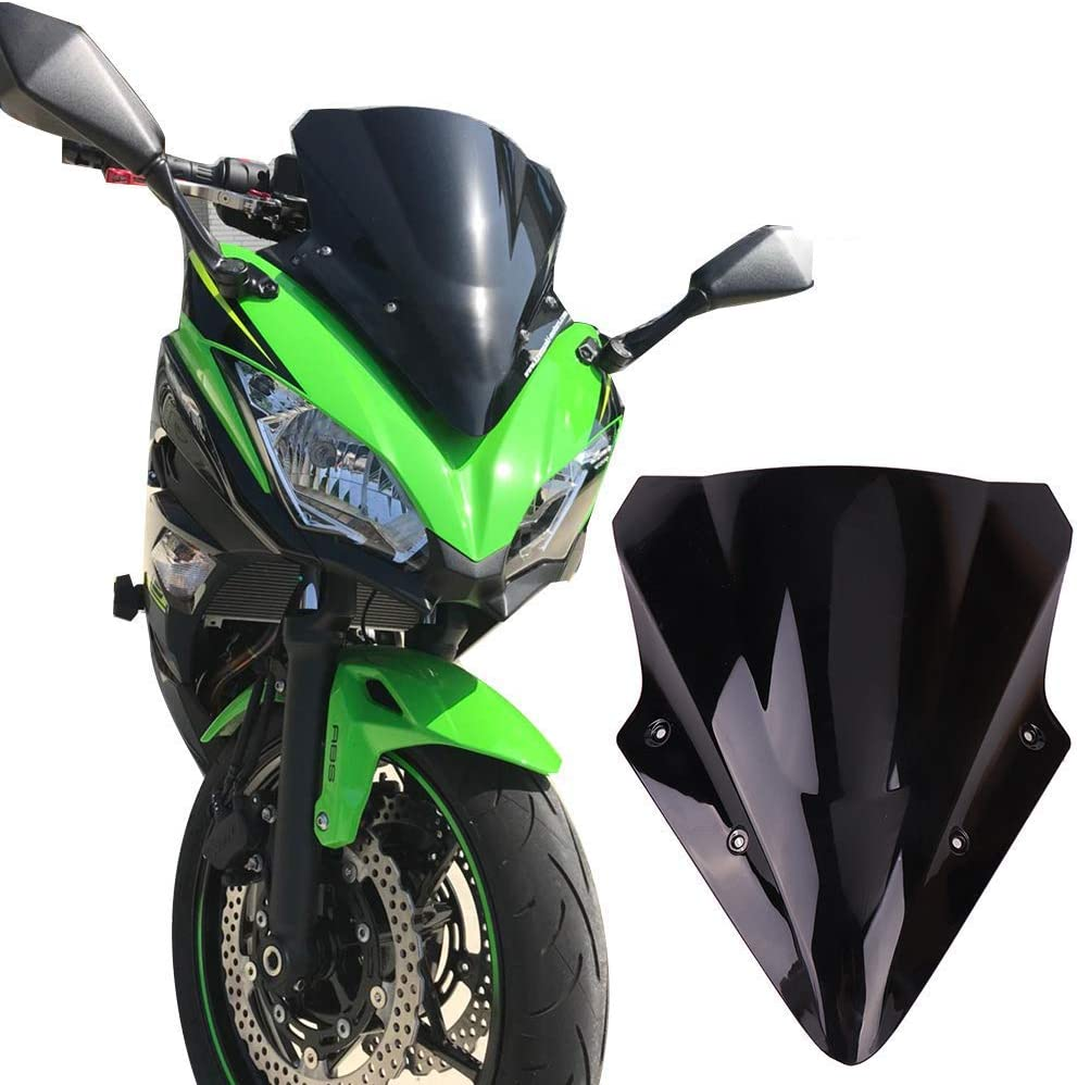 Kemimoto Fits Kawasaki Ninja 650 Windscreen Windshield 2017 2018 2019 Black