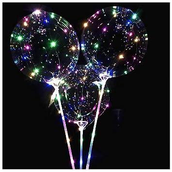 com-four® 2 Globos LED iluminados con Barras de Soporte, adecuados para Helio, con baterías: Amazon.es: Hogar