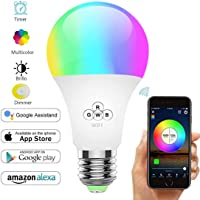 TECHVIDA Smart LED Bulb, WiFi Smart Bulbs Timer 6000K 6.5W Dimmable Smartphone Color Controlled Warm White Light - 16 Million Different Colors, Amazon Alexa Voice Control And Google Home, No Hub Required, For Home Decoration, Stage, Bar, Parties And More (E27 B26)