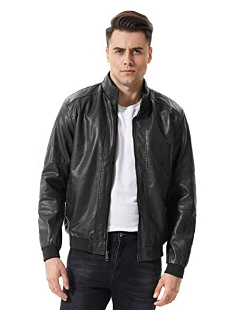 sunseen Mens Winter Fashion Faux Leather Jackets Stand Collar Fur Lined Coat Warm Biker Motorcycle Bomber