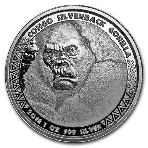 2018 Silverback Gorilla 99.99% pure Silver Coin Republic of Congo - 4th in Series 1 OZ Brilliant Uncirculated BU
