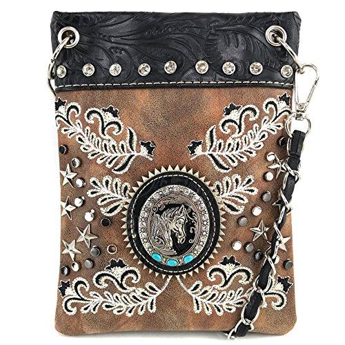 Justin West Horse Western Floral Damask Embroidery Studs Stars Concealed Carry Handbag Purse