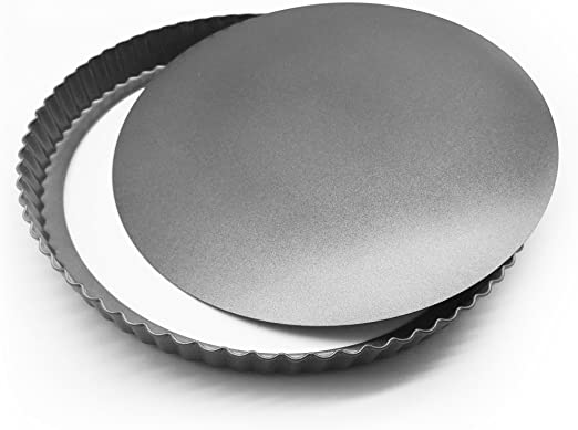 Non Stick Loose Bottom Quiche Pan with Removable Bottom MyLifeUNIT Carbon Steel Quiche Pan 10-Inch