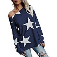 Women Long Sleeve Off Shoulder Star Printed Plain Baggy Tunic Loose Sweatshirt Pullover Oversized Tee T-Shirts Tops
