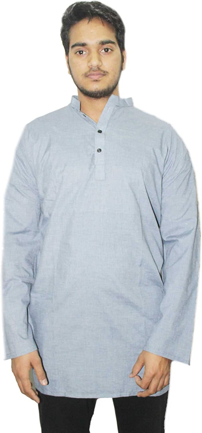 Lakkar Haveli Indian Mens Kurta Shirt Tunic 100/% Cotton Loose Fit Plus Size Solid Sky Blue Color L-42