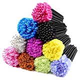 ECBASKET 500PCS Disposable Mascara Wands Applicators Multicolored Mascara Brushes Eyelash Eyebrow Brushes Cosmetic Brush Makeup Tool Kit, 10 colors