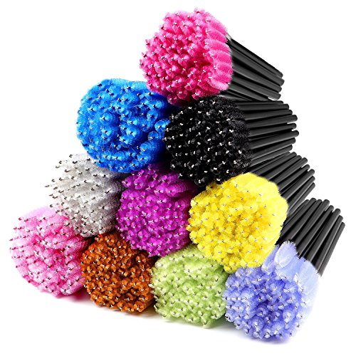 ECBASKET 500pcs Disposable Mascara Wands Applicators Multicolored Mascara Brushes Eyelash Eyebrow Brushes Cosmetic Brush Makeup Tool Kit 10 colors