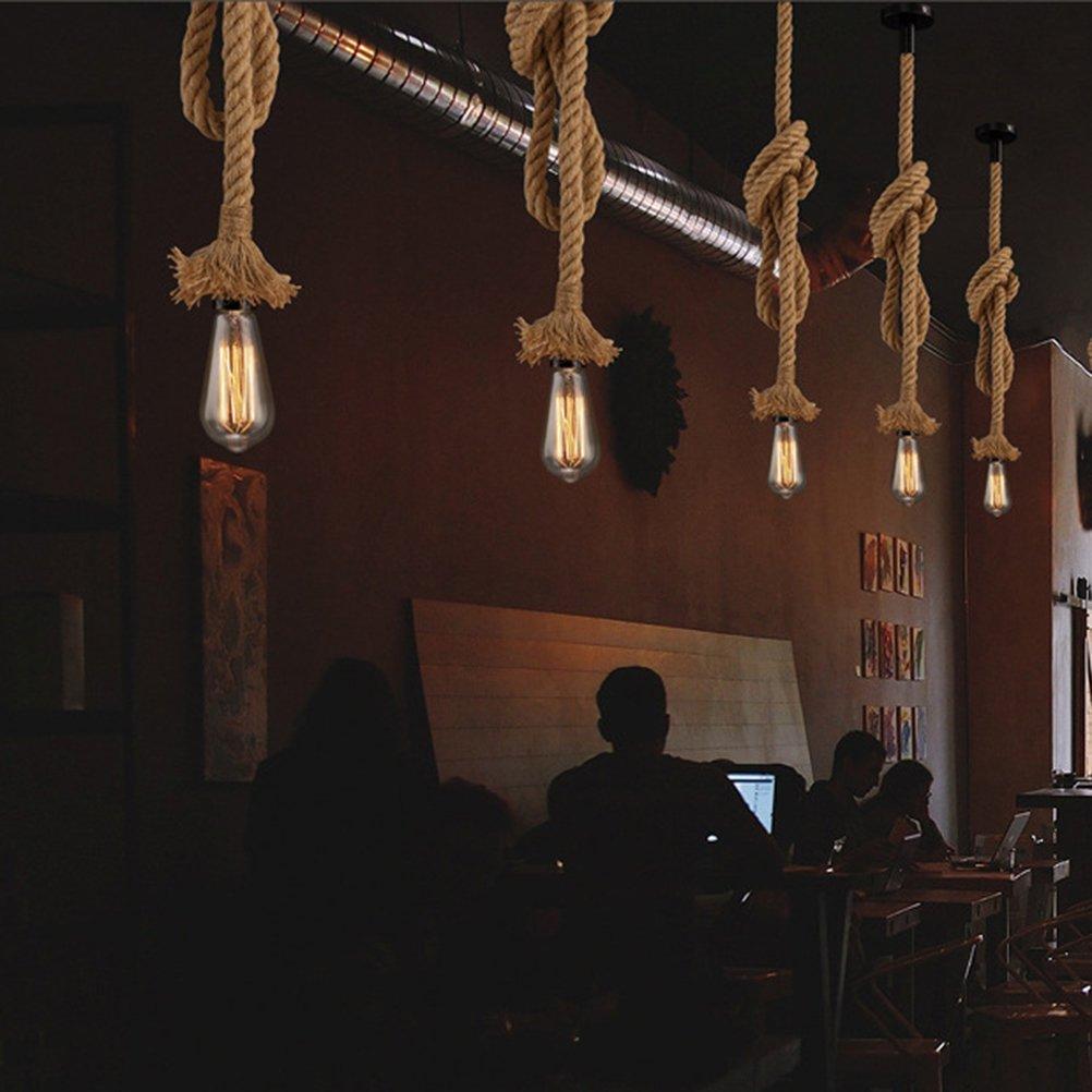 OSALADI 0.5 m sola cabeza colgante l/ámpara de c/á/ñamo cuerda luces colgantes r/ústicas para el dormitorio restaurante cafeter/ía bar estilo rural decoraci/ón