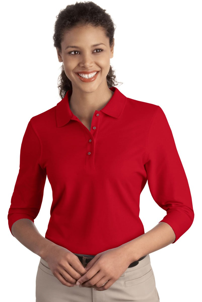 Red Port Authority Womens Silk Touch 3//4 Sleeve Sport Shirt XX-Large
