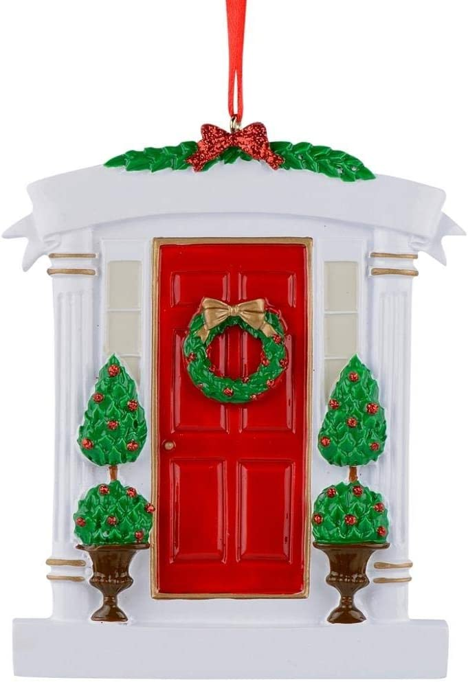 MAXORA Home Personalized Christmas Ornament Red Door House First or New Home Handmade Customized