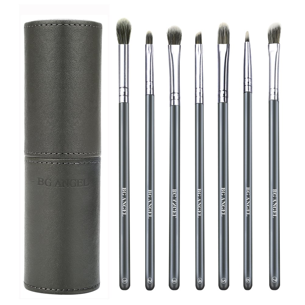 Eyeshadow Brushes BG ANGEL Eye Brushes Set Essential Makeup Brushes 7 Pcs Eyeshadow Blending Brushes with Case for Shading Blending Eyebrow Eyeshadow Eyeliner (Blue)