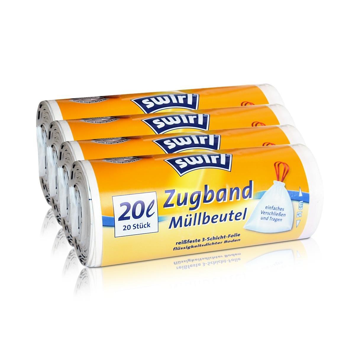 Pack of 20//Roll 4x swirl Drawstring Bin Liners 20/Litre