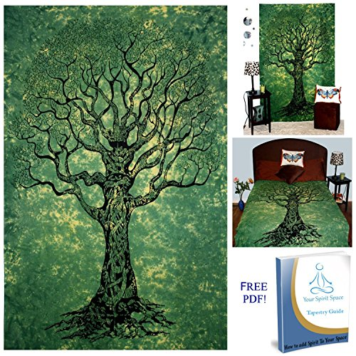 Your Spirit Space (TM) Green Tree of Life Tapestry-Good Luck. Quality For Home or Dorms Psychedelic Hippie Islamic Asian Contemporary Canvas Wall Hanging Art. The Ultimate Bohemian Tapestry Decor