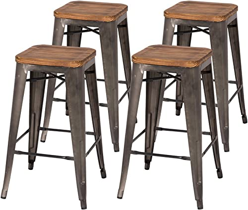 New Pacific Direct Metropolis Backless Counter, Set of 4 Bar Counter Stools, Gunmetal Grey