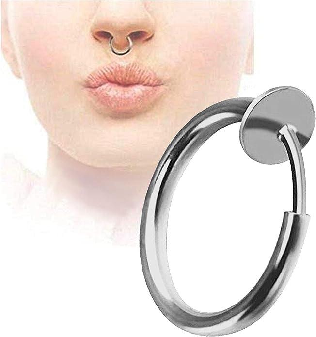 Longita Fake Septum Ring Faux Septum Piercing Stainless Steel Clip On Non Piercing Horseshoe Septum Jewelry Septum Nose Ring for Women Men Silver Rose Gold Black Rainbow