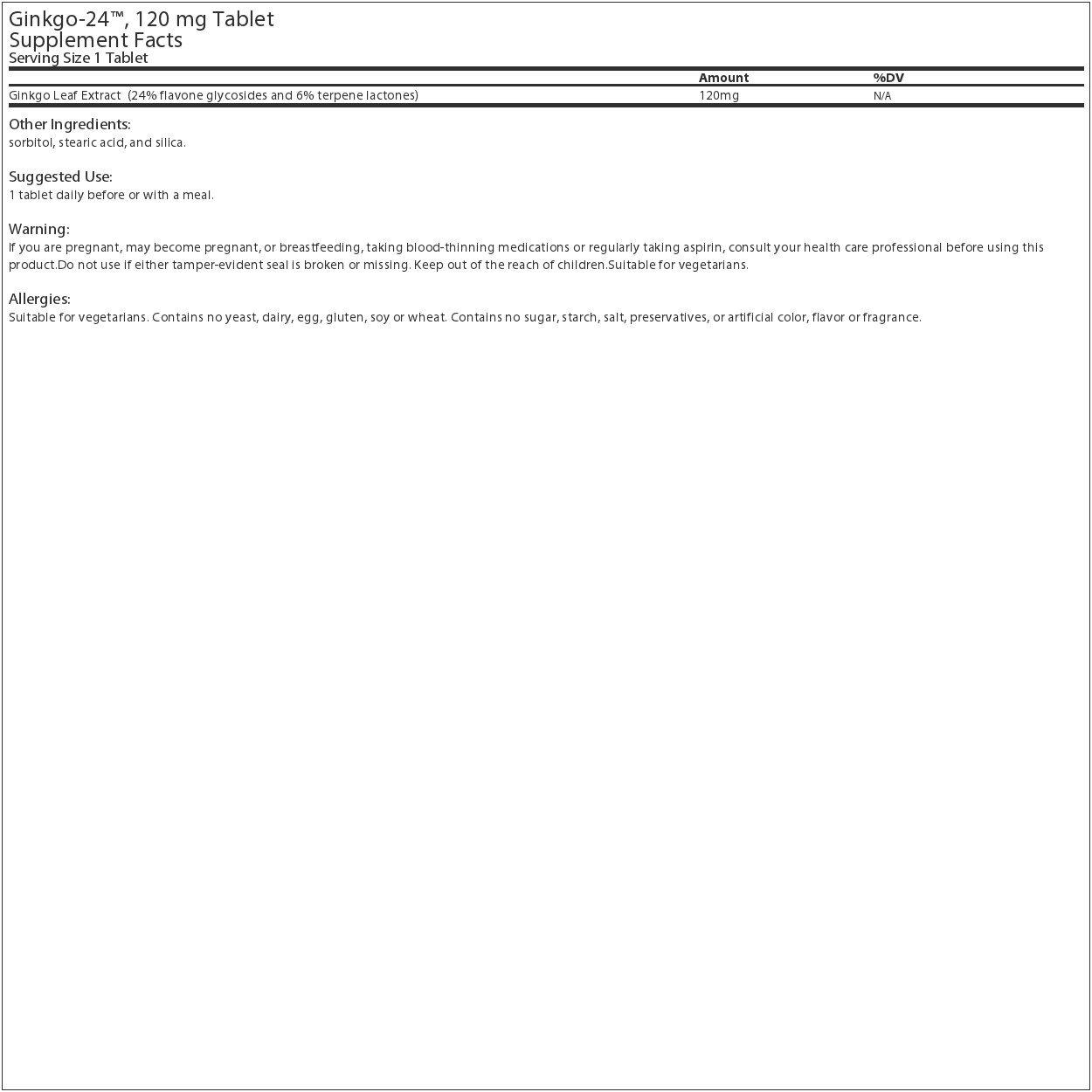 Source Naturals - Ginkgo-24 Ginkgo Biloba Extract 120 mg. - 120 Tablets