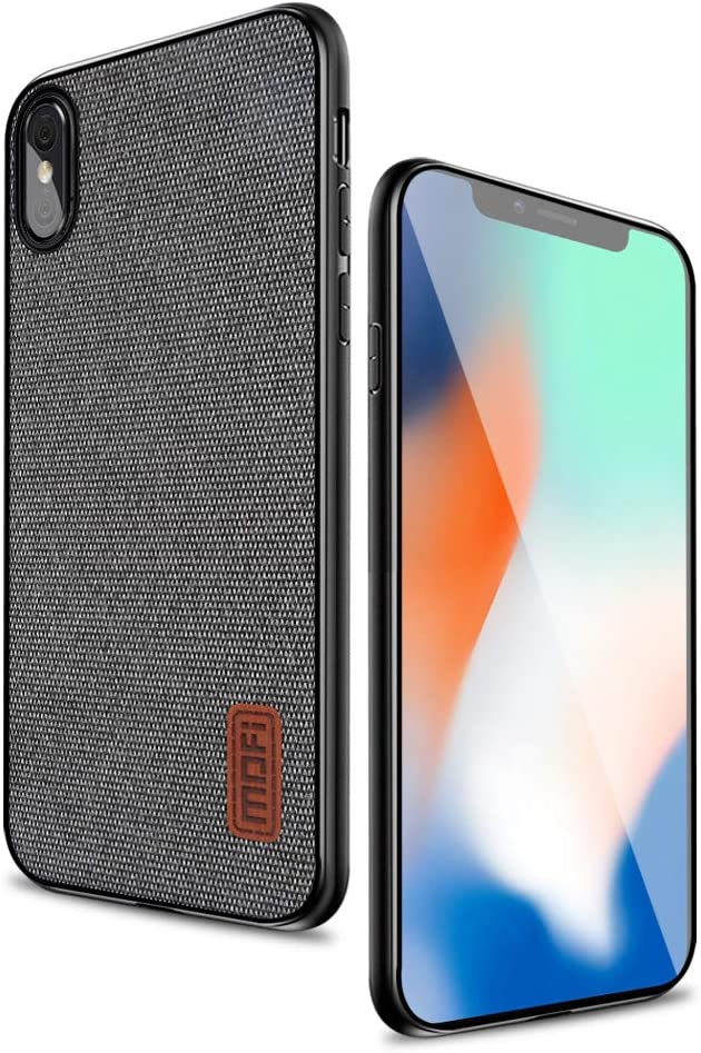 Mofi Compatible with iPhone X Case Covers with Art Cloth & Soft TPU Edge and Full-Edge Protection Shock- Absorbing and with Great Grip Fully Compatible with iPhoneX(Gray)