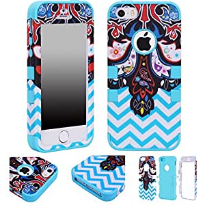 Majesticase® iPhone 5/5S Case - 3 Layers Ethnic Paisley & Chevron Waves Full Body Hybrid Armor 360° Shockproof Protection Cover + FREE Stylus in Blue